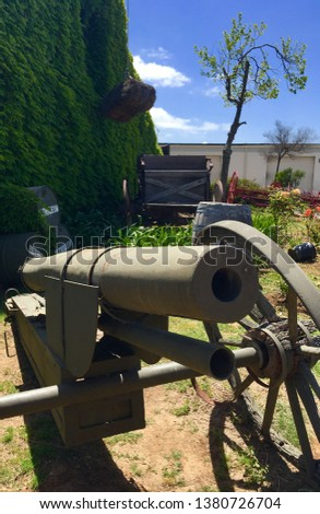 Old Army Cannon.  This Army Cannon is a type used in World War 1.