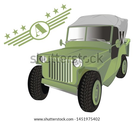 old army car and army signs