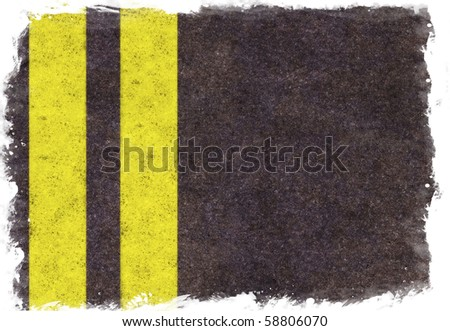 Old asphalt texture with two yellow lines