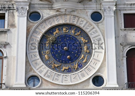 Old astrological clock in Venice, Italy. Astronomy clock.