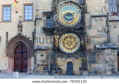 Old astronomical clock in Old Town Square, Prague, Czech Republic