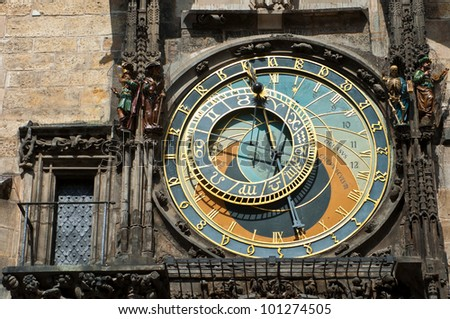 Old astronomical clock in Prague, Czech Republic