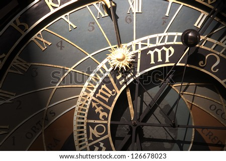 Old astronomical clock in Prague, Czech Republic #126678023