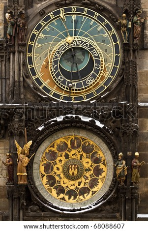 Old astronomical clock in the center square of Prague, Czech Republic