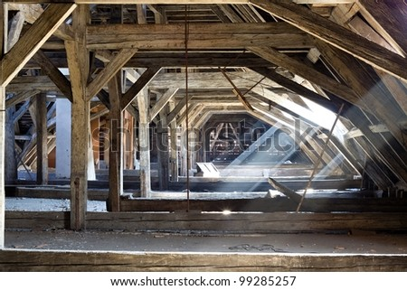 old attic of a house, hidden secrets - stock photo