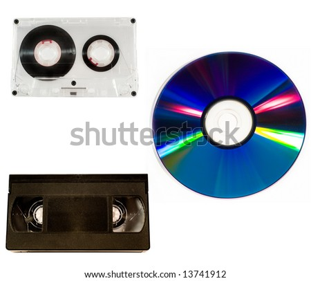 Old audio and video tapes and compact disk (all isolated on white)