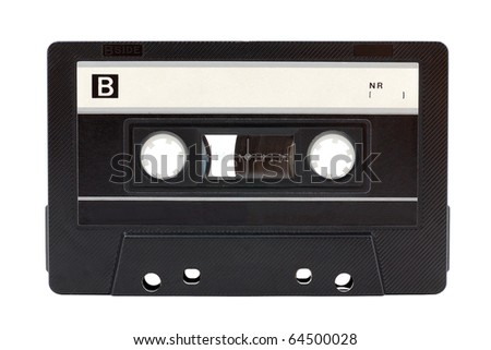 Old audio cassette isolated on white background