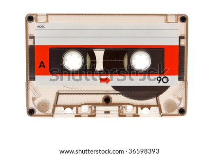 Old audio cassette on a white background