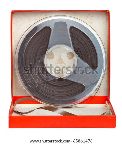 Old audio tape on a red box isolated on white with clipping path