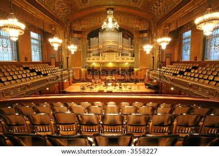 old auditorium, gold and velvet decoration - stock photo