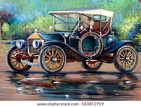 Old auto,retro car, oil paintings