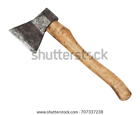 Old ax on isolated white background.psd