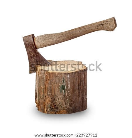 Old axe stuck in log over white background