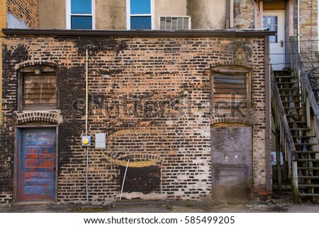 Old back alley building in a small Midwest town. Stockfoto ©