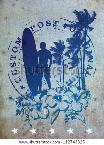 old background with beauty surf stamp mark