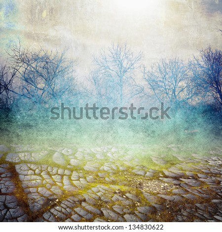 old background with cracks and landscape