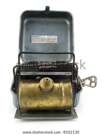 Old Backpacking Camp Stove Isolated on White Background