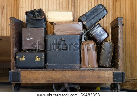 old baggage in the train station