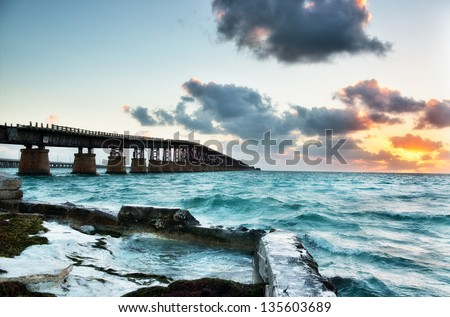 Old Bahia Honda Railroad bridge at sunrise. Florida Keys Islands, USA.