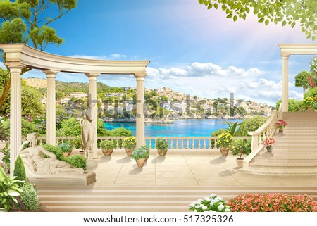 stock photo old balcony with columns overlooking the sea 517325326 - Каталог — Фотообои «Балконы, арки»