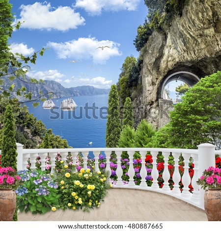 stock photo old balcony with flowers and views of the ocean and ships 480887665 - Каталог — Фотообои «Балконы, арки»