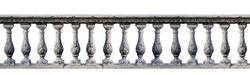 Old balustrade isolated on white background