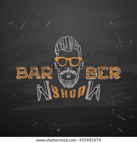 old barber pole sign gentleman barber shop vintage design template