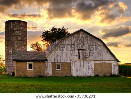 Old barn at sunset #35938291