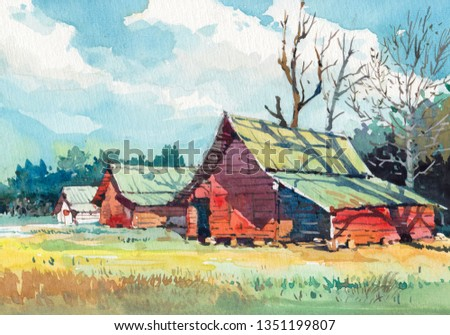 old barn cottage countryside watercolor painting