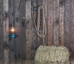 Old barn, hay, rope, kerosene lamp