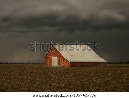 Old Barn in storm