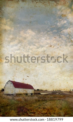 Old Barn on a grunge background with copy-space for your own text.