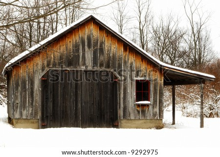 Old Barn or Shed in the Winter - stock photo