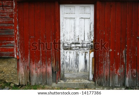 old barn siding with door and sign, please use other door