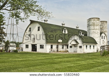 Old Barn With Twin Silos