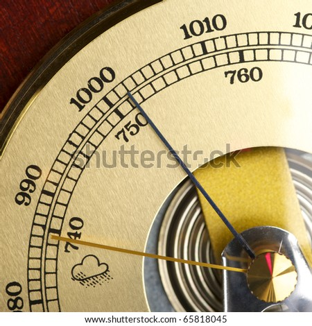 Old barometer forecasting stormy weather