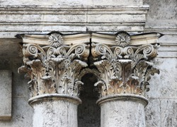 old baroque columns on a historic building that is in disrepair. Russia. elements of architectural decorations of buildings, columns.
