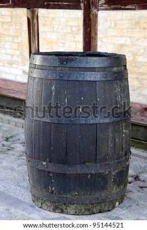 Old barrel found in the Old Village in Aarhus, Denmark