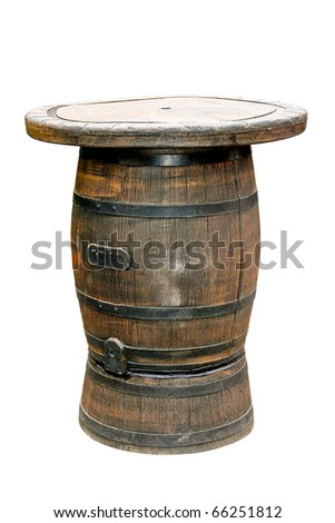 Old barrel with table isolated included clipping path