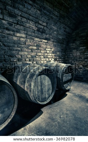 old barrels in a vault, hdr image
