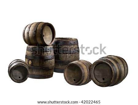 old barrels isolated on white background - stock photo