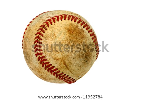 Old baseball isolated on white with copy space.