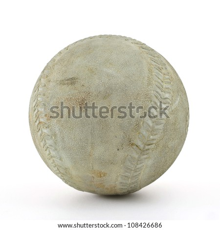 old baseball with clipping path