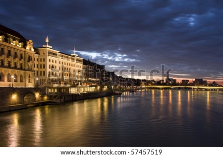Old Basel, Swiss in dusk time