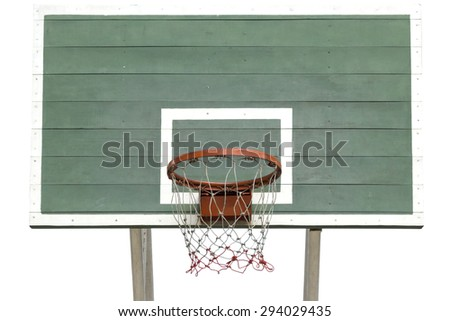 Old Basketball Hoop on Green Wooden Board with White background