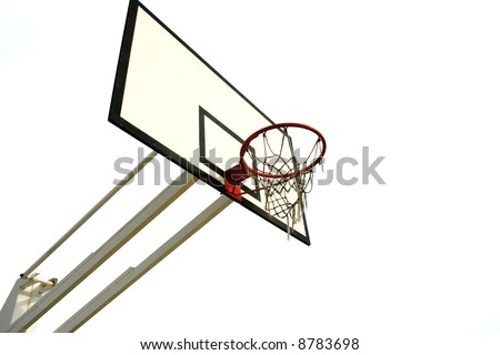 old basketball net isolated in white background - left side of the image - stock photo