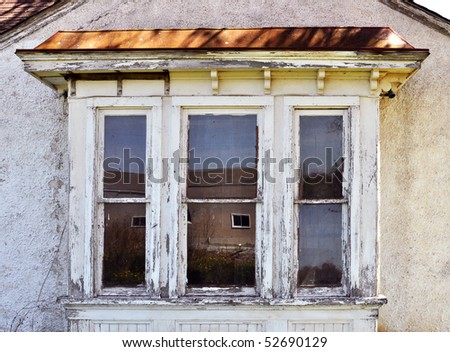 Old bay window with reflections