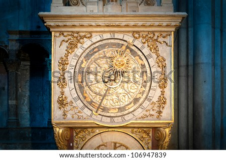 Old beautiful astronomical clock in the Cathedral of St. Jean. Lyon, France, Europe.