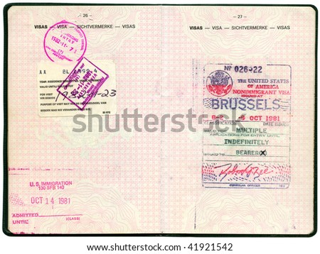 Old Belgian passport. Pages for visa marks