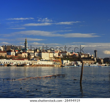 Old Belgrade from the river Sava, big format - stock photo